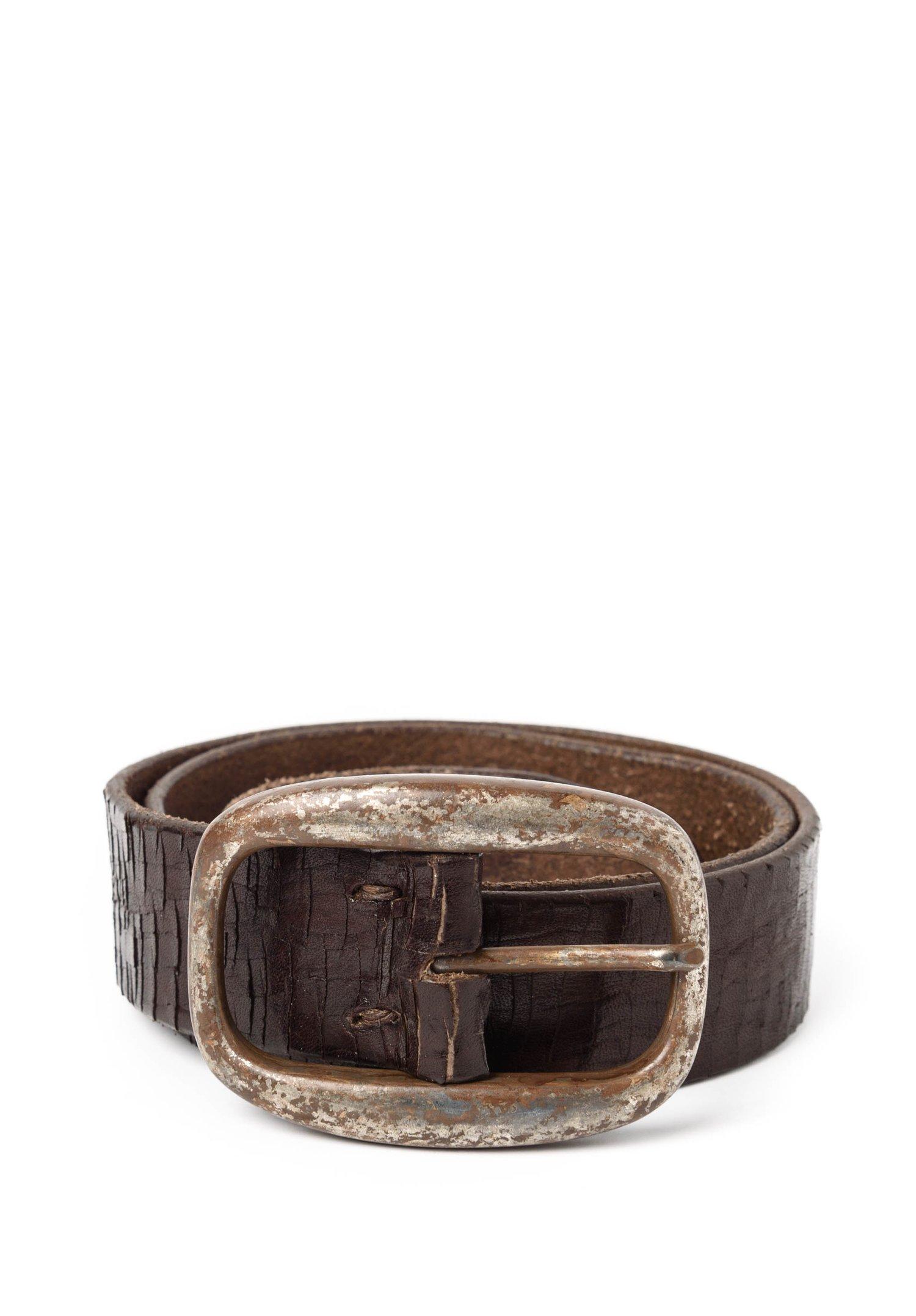 riccardo forconi scored leather belt in brown santa
