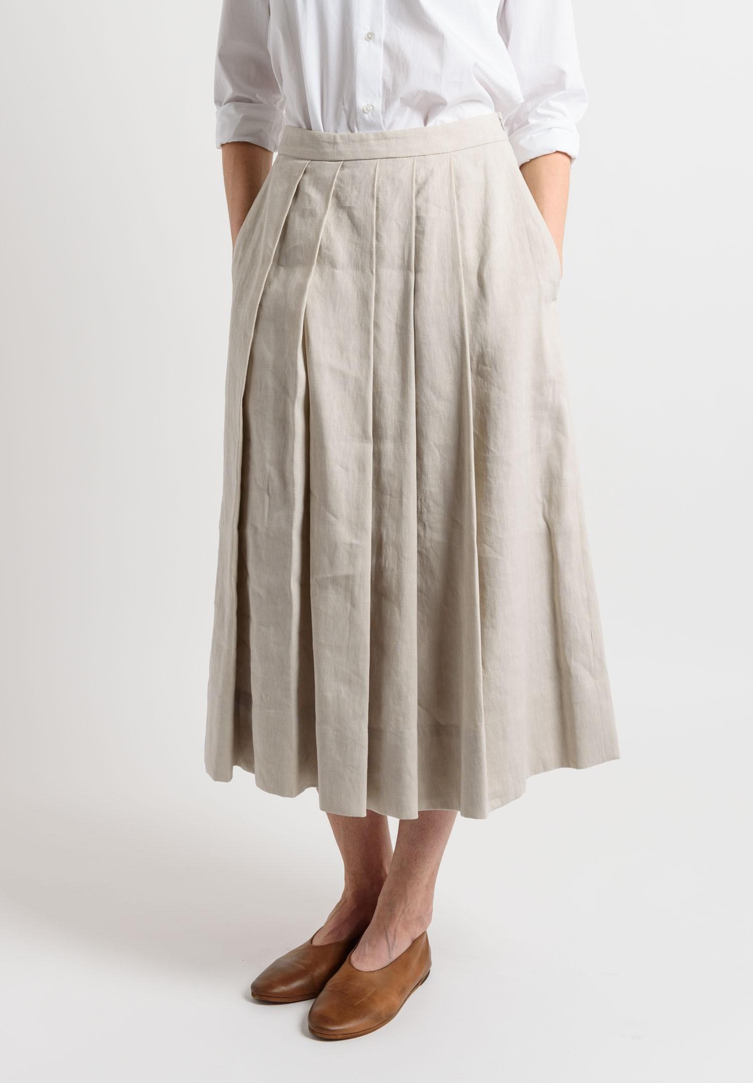 pauw pleated skirt in beige santa fe goods