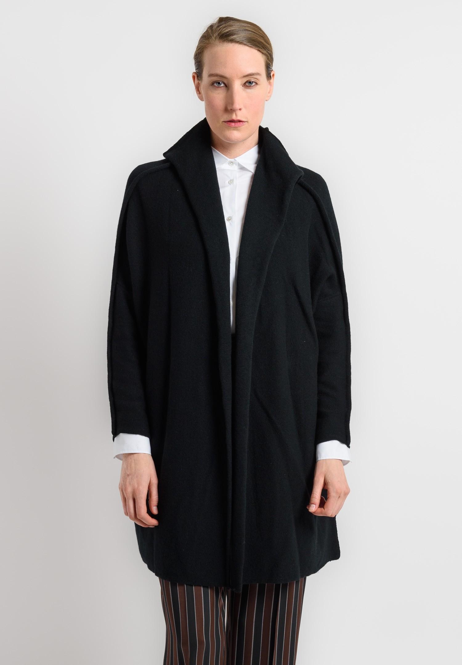 Shi Cashmere Long Open Cardigan In Black Santa Fe Dry
