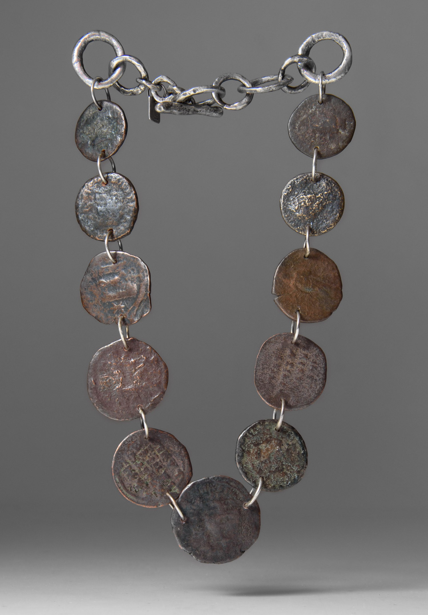 masterson large ancient coin necklace santa