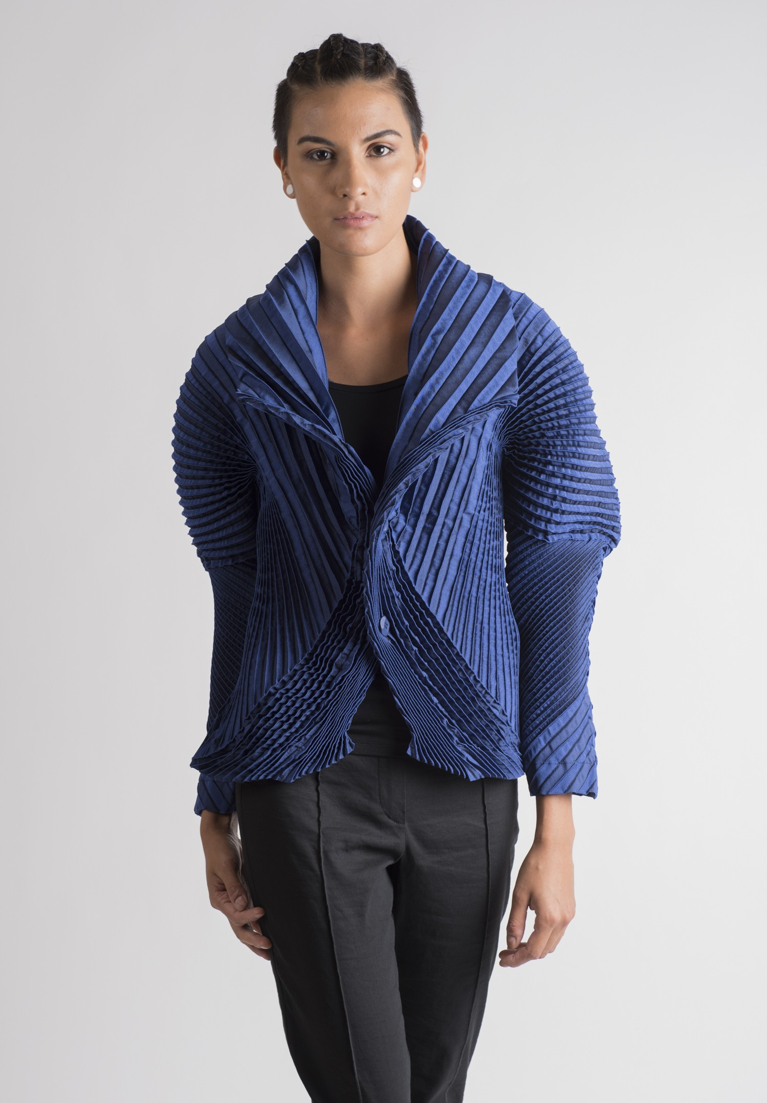 Issey miyake double buttoned jacket in royal blue santa fe dry goods - Issey miyake rue royale ...