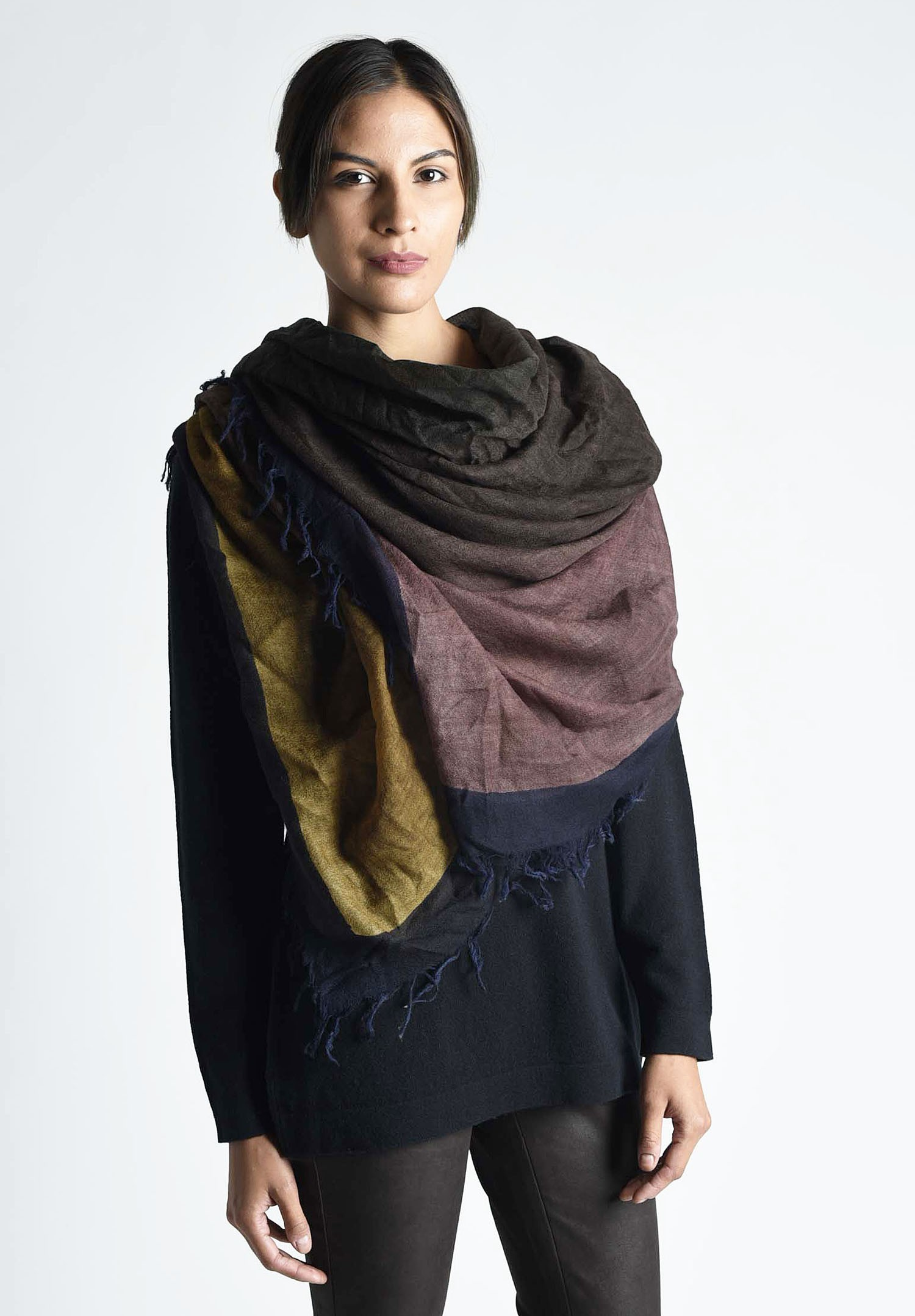 faliero sarti bellissima ombre color block wool