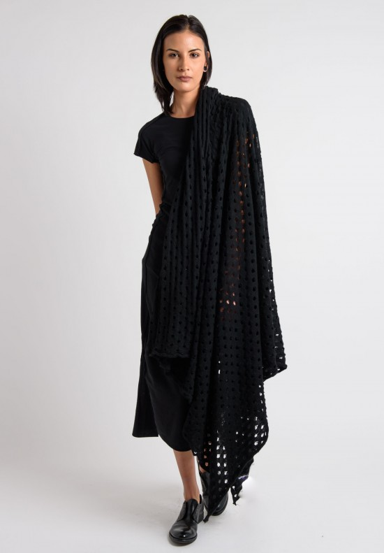 Rundholz Cashmere Perforated Scarf in Black