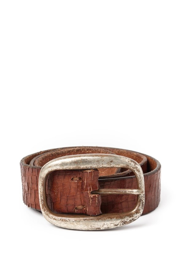 Riccardo Forconi Scored Leather Belt in Brown