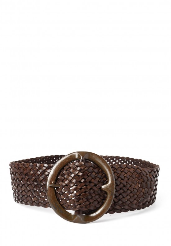 Riccardo Forconi Wide Woven Belt in Dark Brown