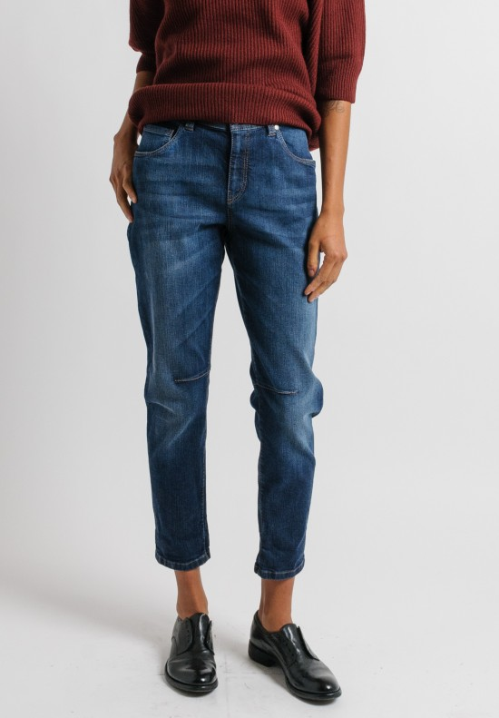 Brunello Cucinelli Boyfriend Low Slung Jeans in Denim Blue