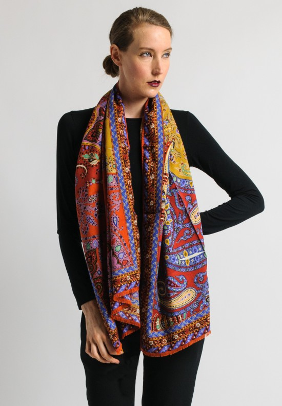 Etro Paisley Scarf in Rust/Gold