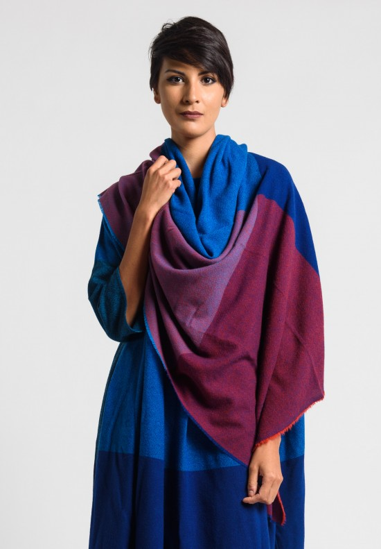 Daniela Gregis Washed Cashmere Shawl in Blue/Red