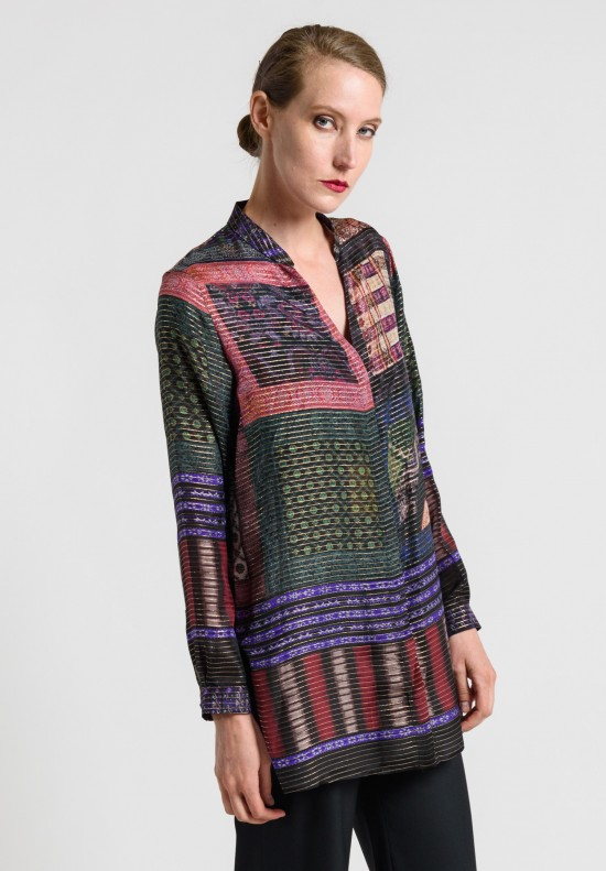 Etro Silk with Lurex Threading Tunic in Purple Multi