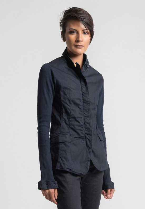 Rundholz Dip Simple Cotton Fitted Jacket in Blue Ink Cloud