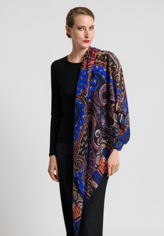 Etro Cashmere/Silk Square Birds & Foxes Scarf in Black/Blue