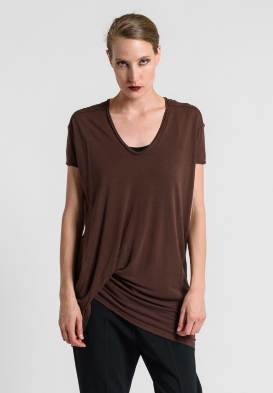 Rick Owens V-Neck Hiked Tee in Macassar