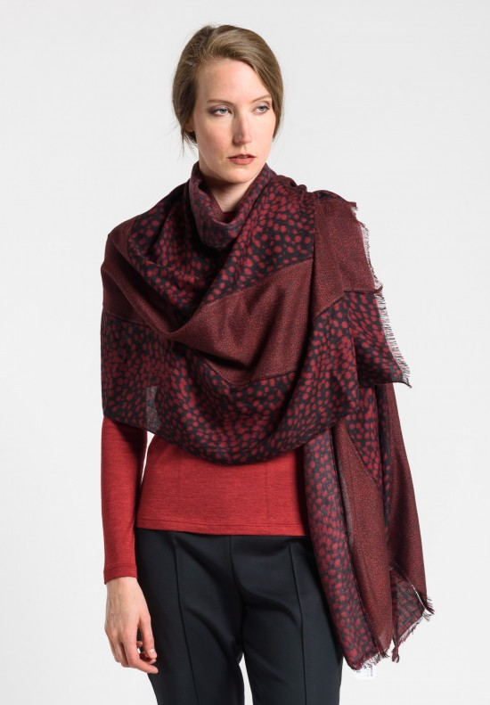 Akris Cashmere/Silk 5 Panel Hemstitched Scarf in Mangosteen