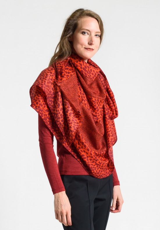 Akris Cashmere/Silk 5 Panel Hemstitched Scarf in Red