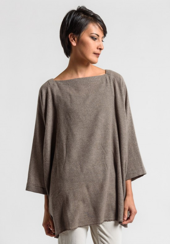 Daniela Gregis Cashmere Top in Natural/Brown
