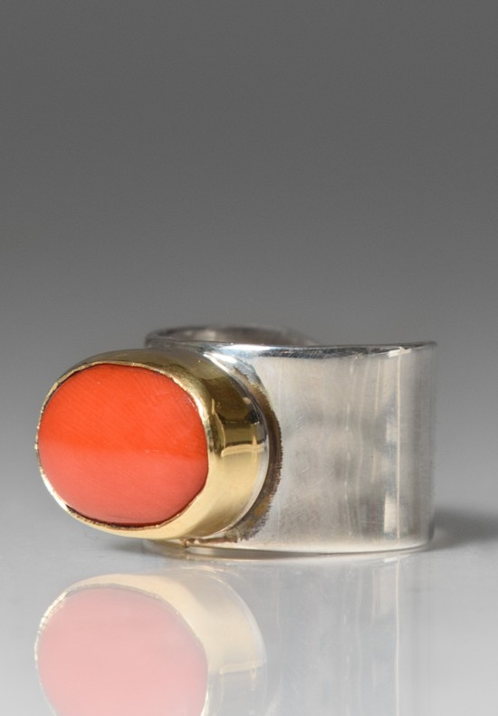 Greig Porter Oval Coral Ring