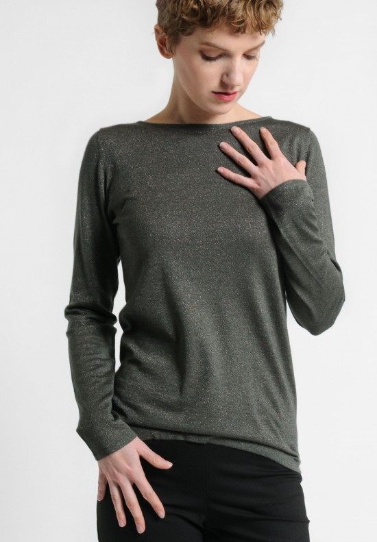 Brunello Cucinelli Fitted Bateau Neck Paillette Sweater in Olive