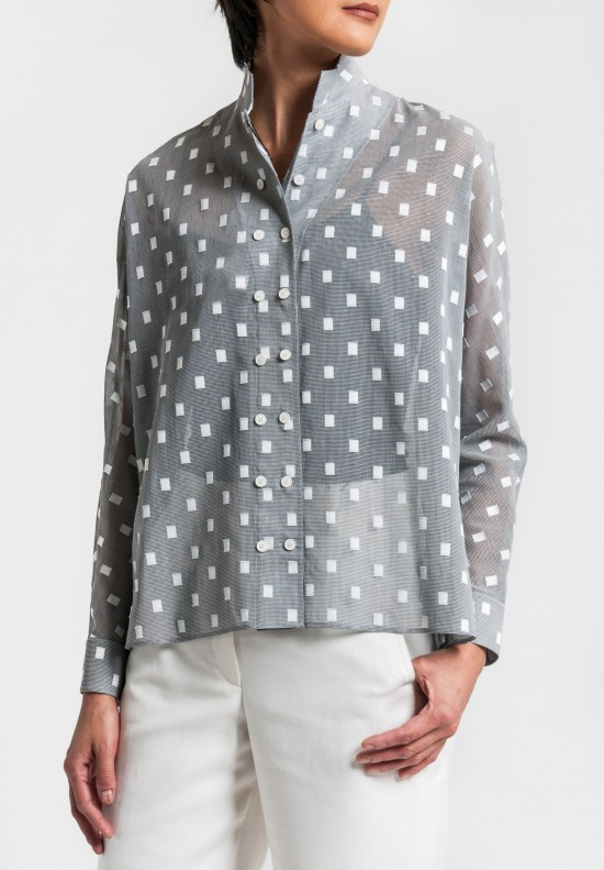 Akris Houndstooth & Check Applique Blouse in Silvercharm