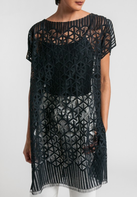 Akris Sheer Geometric Lace Tunic in Black