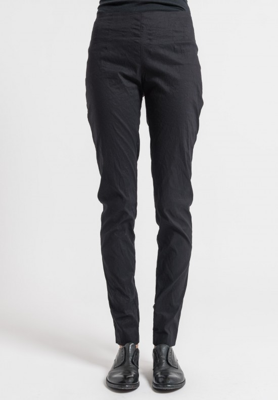 Rundholz Linen/Cotton Stretch Skinny Pants in Black