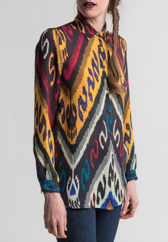 Etro Silk Ikat Print Blouse in Black Multi