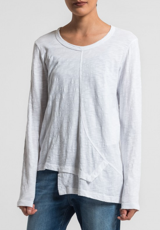 Wilt Shift Front Long Sleeve Tee in White