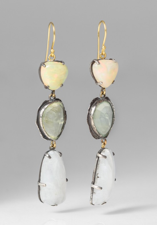 Margery Hirschey Silver, 22k, Prehnite, Moonstone, Opal Earrings