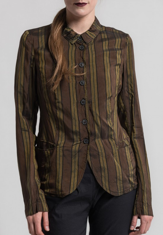 Rundholz Striped Tailored Blazer in Olive Stripe