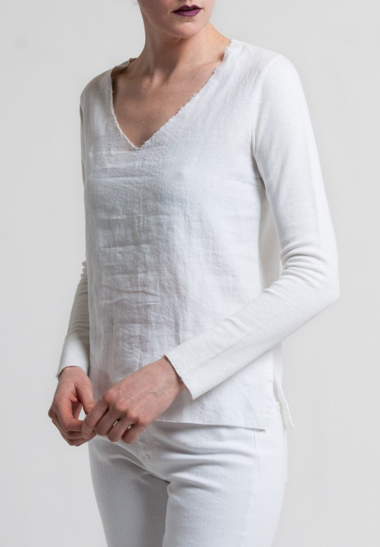 Majestic Linen & Cotton 3/4 Sleeve V-Neck Tee in Blanc