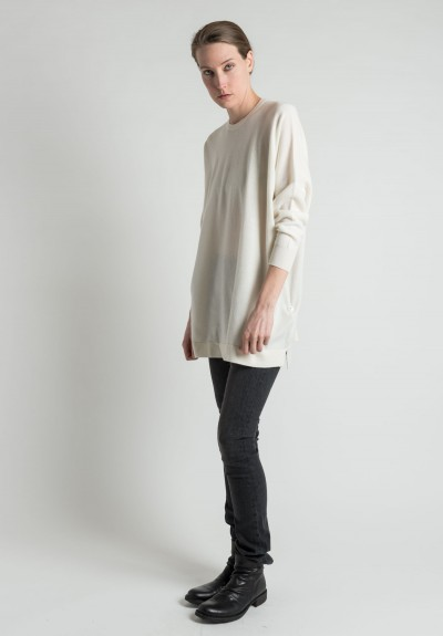 Hania Oversized Cashmere Crew Neck Pullover in Natural