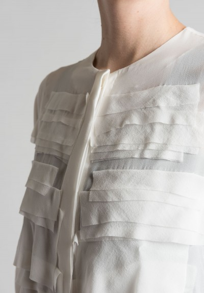 White Silk Blouse With Ruffles 33