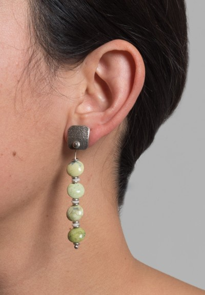 Holly Masterson Post Earrings with Four Green Tibetan Turquoise Drops