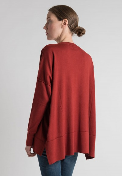 Lou Tricot Cotton Crew Neck Sweater in Tomato Red