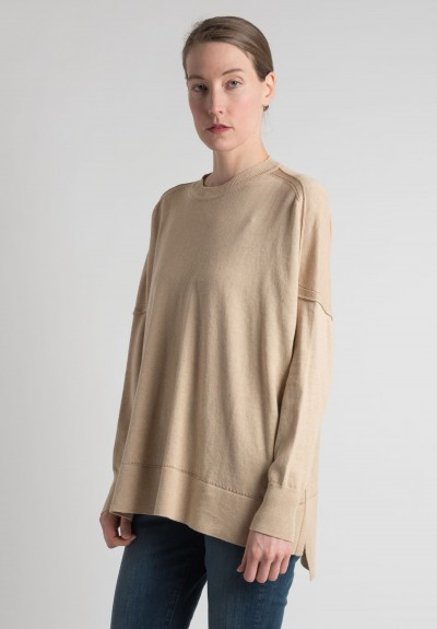 Lou Tricot Cotton Crew Neck Sweater in Hemp