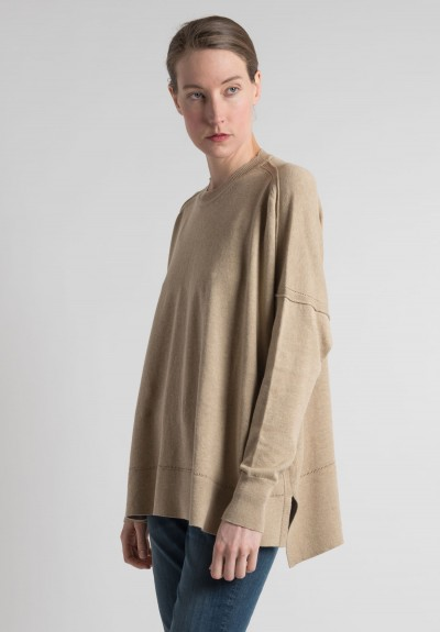 Lou Tricot Cotton Crew Neck Sweater in Jute