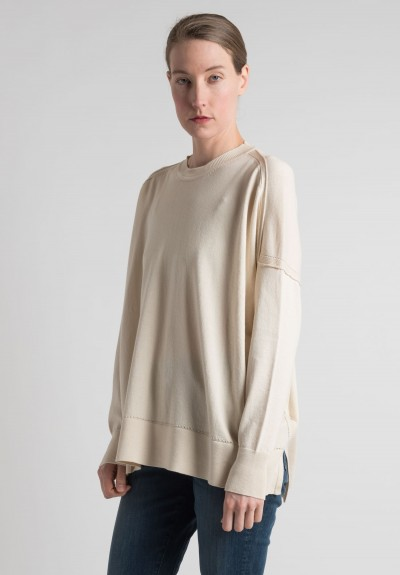 Lou Tricot Cotton Crew Neck Sweater in Cream