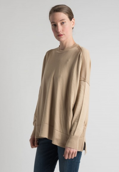 Lou Tricot Cotton Crew Neck Sweater in Cafe Au Lait