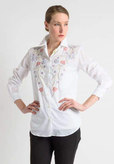 Etro Hand Embroidered Floral Button Down Shirt in White