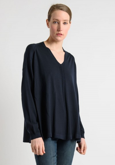 Lou Tricot Reverse Seam V-Neck Sweater in Navy