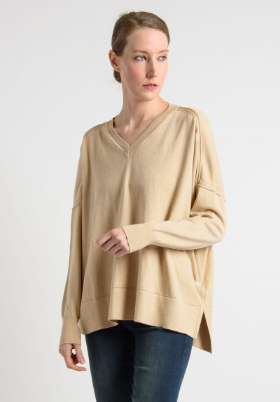 Lou Tricot Cotton V-Neck Sweater in Hemp