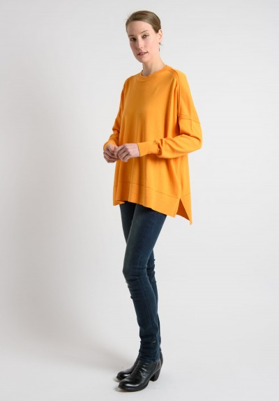 Lou Tricot Cotton Crew Neck Sweater in Orange
