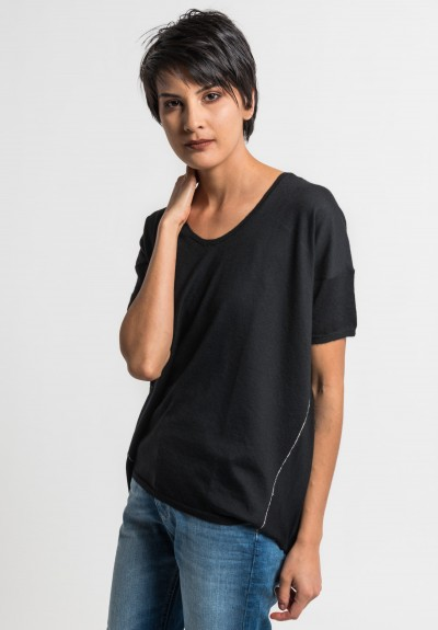 Paychi Guh Cashmere Scoop Neck Top in Black
