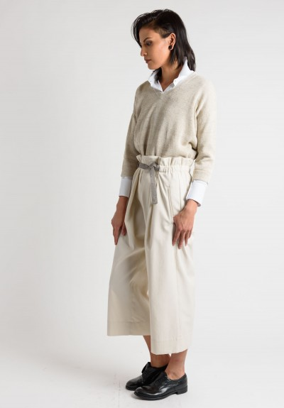 Brunello Cucinelli Culottes with Embellished Belt in Cream
