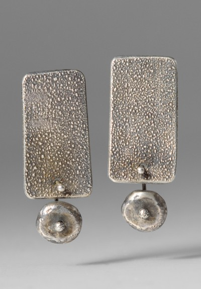 Holly Masterson Sterling Silver Textured Rectangular Earrings