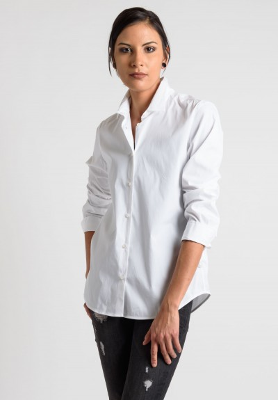Lareida Long Sleeve Button-Down Shirt in White