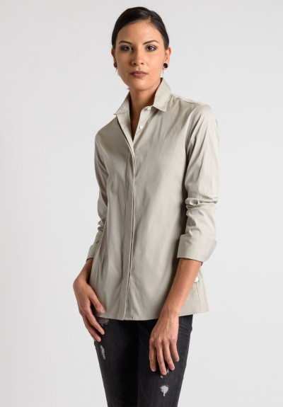 Lareida Long Sleeve Placket Shirt in Beige
