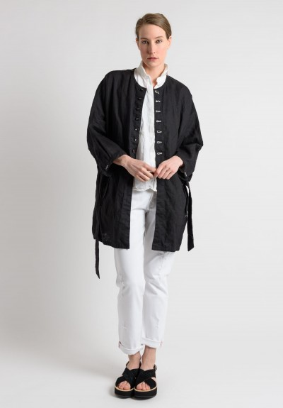 Umitunal Linen Medium Length Jacket in Black