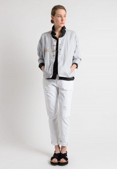 Umitunal Linen Short 3/4 Sleeve Jacket in Stone