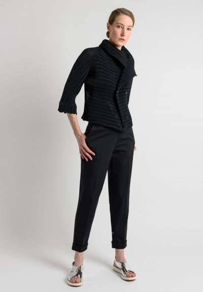 Issey Miyake Short Pleated Shawl Collar Jacket in Black