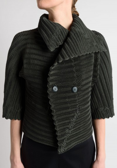 Issey Miyake Short Pleated Shawl Collar Jacket in Olive